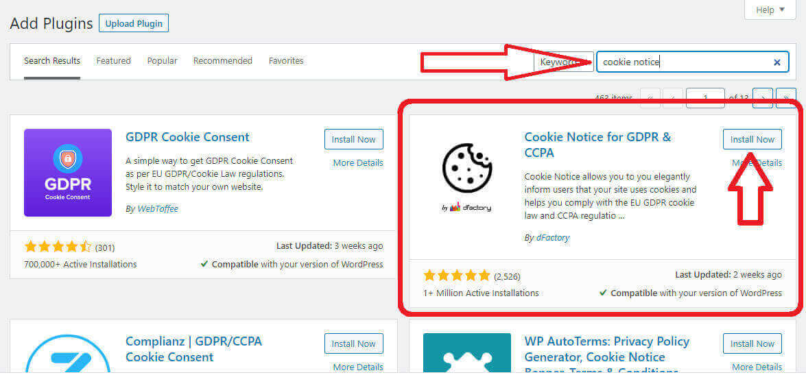 installing cookie notice plugin